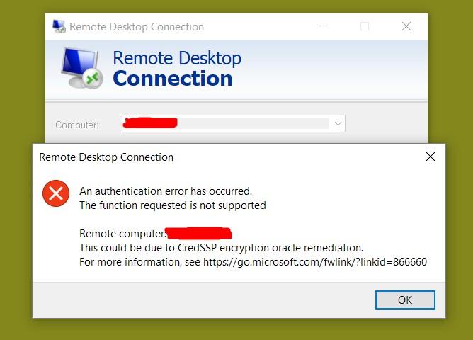 Remote Desktop Fails due to CredSSP Encryption Oracle
