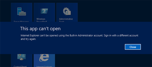 modern app can't be opened with built-in administrator account